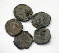 Пять монгольских медных пулов (монет)